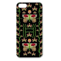 Roses In The Soft Hands Makes A Smile Pop Art Apple Seamless Iphone 5 Case (clear)