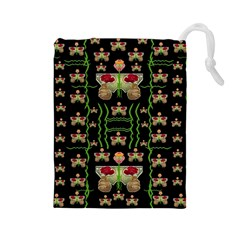 Roses In The Soft Hands Makes A Smile Pop Art Drawstring Pouches (large)
