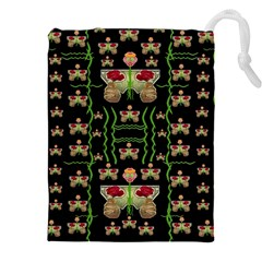 Roses In The Soft Hands Makes A Smile Pop Art Drawstring Pouches (xxl)