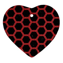 Hexagon2 Black Marble & Red Denim (r) Heart Ornament (two Sides)