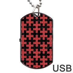 Puzzle1 Black Marble & Red Denim Dog Tag Usb Flash (two Sides)