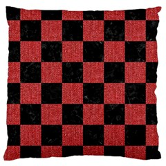Square1 Black Marble & Red Denim Large Cushion Case (two Sides)