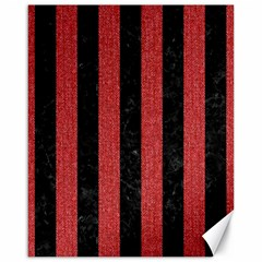 Stripes1 Black Marble & Red Denim Canvas 16  X 20