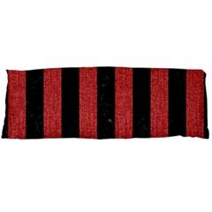 Stripes1 Black Marble & Red Denim Body Pillow Case (dakimakura)