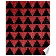 Triangle2 Black Marble & Red Denim Canvas 16  X 20
