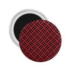 Woven2 Black Marble & Red Denim 2 25  Magnets