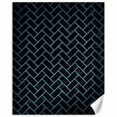 Brick2 Black Marble & Teal Brushed Metal (r) Canvas 16  X 20