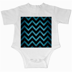 Chevron9 Black Marble & Teal Brushed Metal (r) Infant Creepers