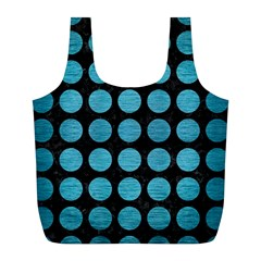 Circles1 Black Marble & Teal Brushed Metal (r) Full Print Recycle Bags (l)