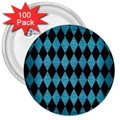 Diamond1 Black Marble & Teal Brushed Metal 3  Buttons (100 Pack)