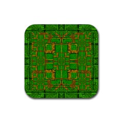 Golden Green And  Sunshine Pop Art Rubber Square Coaster (4 Pack)
