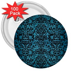 Damask2 Black Marble & Teal Brushed Metal 3  Buttons (100 Pack)