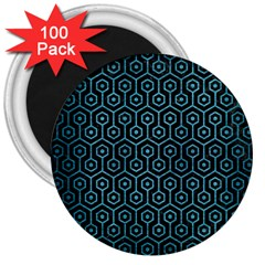 Hexagon1 Black Marble & Teal Brushed Metal (r) 3  Magnets (100 Pack)