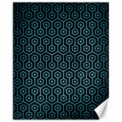 Hexagon1 Black Marble & Teal Brushed Metal (r) Canvas 16  X 20