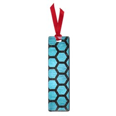 Hexagon2 Black Marble & Teal Brushed Metal Small Book Marks