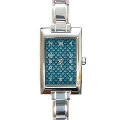 Scales2 Black Marble & Teal Brushed Metal Rectangle Italian Charm Watch