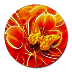 Arrangement Butterfly Aesthetics Orange Background Round Mousepads