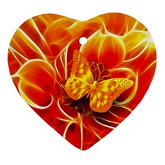 Arrangement Butterfly Aesthetics Orange Background Ornament (heart)