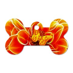 Arrangement Butterfly Aesthetics Orange Background Dog Tag Bone (one Side)