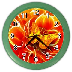 Arrangement Butterfly Aesthetics Orange Background Color Wall Clocks