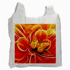 Arrangement Butterfly Aesthetics Orange Background Recycle Bag (two Side)