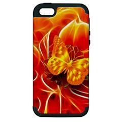 Arrangement Butterfly Aesthetics Orange Background Apple Iphone 5 Hardshell Case (pc+silicone)