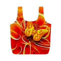 Arrangement Butterfly Aesthetics Orange Background Full Print Recycle Bags (m)