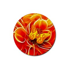 Arrangement Butterfly Aesthetics Orange Background Rubber Round Coaster (4 Pack)