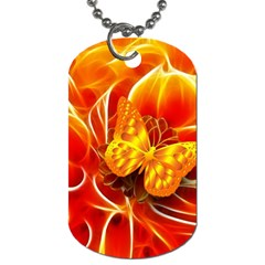 Arrangement Butterfly Aesthetics Orange Background Dog Tag (one Side)