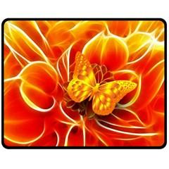 Arrangement Butterfly Aesthetics Orange Background Fleece Blanket (medium)
