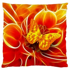 Arrangement Butterfly Aesthetics Orange Background Large Cushion Case (two Sides)
