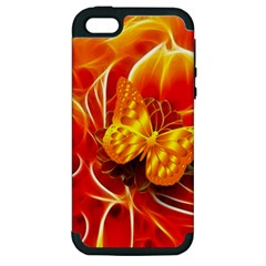 Arrangement Butterfly Aesthetics Orange Background Apple Iphone 5 Hardshell Case (pc+silicone)
