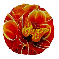 Arrangement Butterfly Aesthetics Orange Background Large 18  Premium Round Cushions