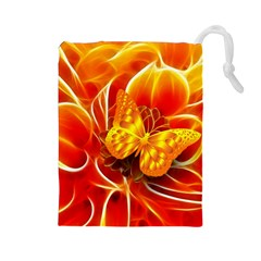 Arrangement Butterfly Aesthetics Orange Background Drawstring Pouches (large)