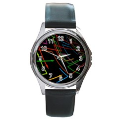 Arrows Direction Opposed To Next Round Metal Watch