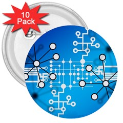 Block Chain Data Records Concept 3  Buttons (10 Pack)