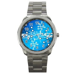 Block Chain Data Records Concept Sport Metal Watch
