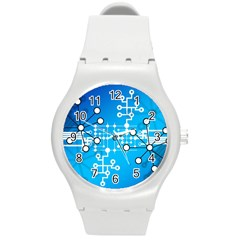 Block Chain Data Records Concept Round Plastic Sport Watch (m)