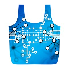 Block Chain Data Records Concept Full Print Recycle Bags (l)