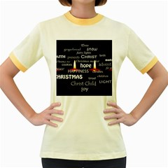 Candles Christmas Advent Light Women s Fitted Ringer T Shirts