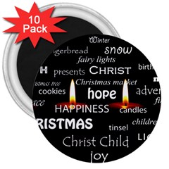 Candles Christmas Advent Light 3  Magnets (10 Pack)