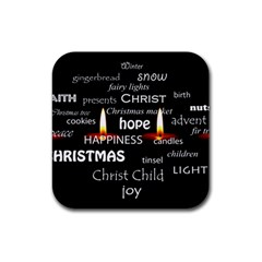 Candles Christmas Advent Light Rubber Square Coaster (4 Pack)