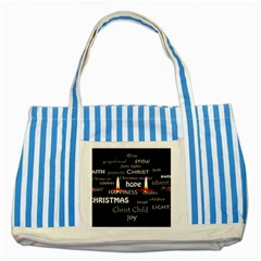 Candles Christmas Advent Light Striped Blue Tote Bag