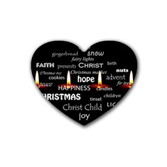 Candles Christmas Advent Light Rubber Coaster (heart)