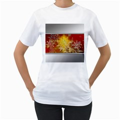 Christmas Candles Christmas Card Women s T Shirt (white) (two Sided)