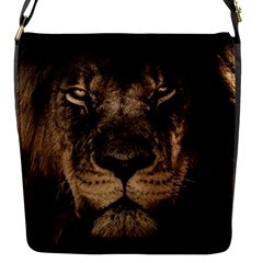African Lion Mane Close Eyes Flap Messenger Bag (s)