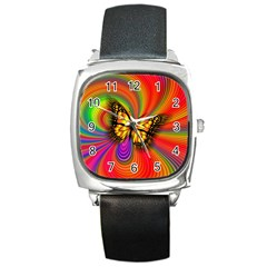 Arrangement Butterfly Aesthetics Square Metal Watch