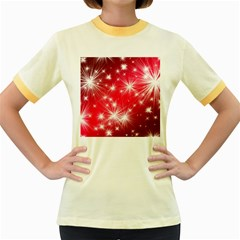 Christmas Star Advent Background Women s Fitted Ringer T Shirts