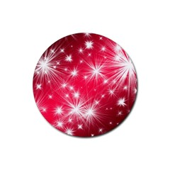 Christmas Star Advent Background Rubber Round Coaster (4 Pack)