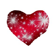 Christmas Star Advent Background Standard 16  Premium Flano Heart Shape Cushions